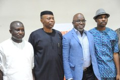 Governor Segun Mimiko (2nd right), NFF President Amaju Pinnick (2nd left), Ondo Commissioner for Youth and Sports (1st right) at the official launch of the Ondo State Football Academy at The Dome in Akure on Monday, March 7, 2016 | Ondo TV