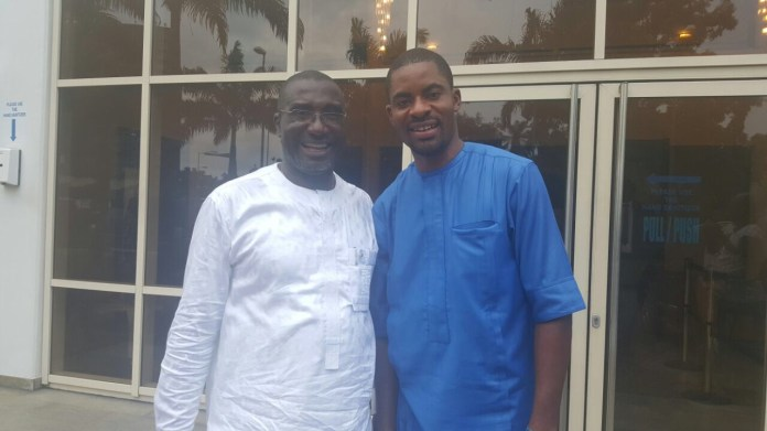 Rivers State PDP Chairman, Bro Felix Obuah pictured with PDP Director of Social Media, Mr. Deji Adeyanji