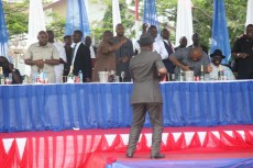 Deputy National Chairman of the PDP, Chief Uche Secondus dancing to the glory of the LORD at the thanksgiving service hosted by Governor Nyesom Wike over the party's victory at the Rivers legislative rerun elections held on March 19, 2016   Oraye St. Franklyn