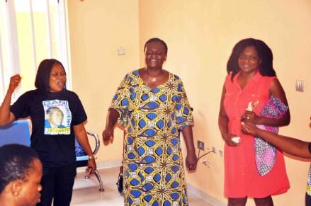 L-R: Founder Gani Fawehinmi Memorial Hospital, Dr. Hafsat Fawehinmi; Gani's Widow, Mrs. Ganiyat Fawehinmi; Gani's Granddaughter, Bunmi Oni; Chairman NCP, Dr. Yunusa Tanko; President Women Arise, Dr. Joe Okei-Odumakin & Director, IPC, Comrade Lanre Arogundade @ the Opening Of Gani Fawehinmi Memorial Hospital For Low Cost Health Services By Daughter Of Late Gani Fawehinmi On April 22nd, 2016 @ Agbara Estate, Ogun State