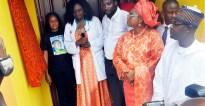 L-R: President Women Arise, Dr. Joe Okei-Odumakin; Founder Gani Fawehinmi Memorial Hospital, Dr. Hafsat Fawehinmi & Husband, Mr. Tunde Oni; Gani's Widow, Mrs. Ganiyat Fawehinmi & Chairman NCP, Dr. Yunusa Tanko @ the Opening Of Gani Fawehinmi Memorial Hospital For Low Cost Health Services By Daughter Of Late Gani Fawehinmi On April 22nd, 2016 at Agbara Estate, Ogun State