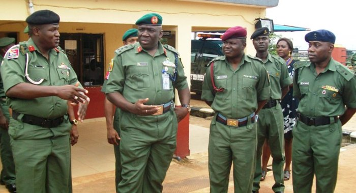 From Left: The Commander of 302 Artillery Regiment, Onitsha, Colonel Isa Abdullahi, the GOC 82 Division, Ibrahim Attahiru, the Officer-in-Charge of Cantonment Medical Reception Station, Captain S. O. Shittu, and the Commanding Officer, 14 Field Engineers Regiment, Onitsha, Lt. Colonel Sheriff Aremu during the familiarization tour of the GOC to Onitsha Military Cantonment in Anambra on Friday, September 18, 2015 | NAN Photo