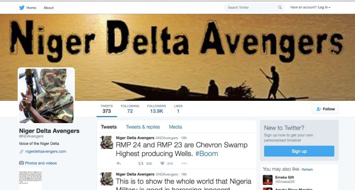Niger Delta Avengers use their Twitter handle to send messages to the world