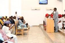 Nigeria's speaker, Mr. Yakabu Dogara worships at Aso Rock Chapel in Abuja on Fathers' Day on Sunday, June 19, 2016   Gov't Photo