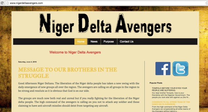 Screengrab from the Niger Delta Avengers website