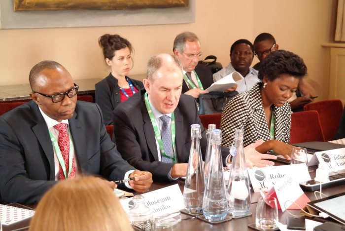 Governor Olusegun Mimiko (left) at the Chatham House, London Conference on Thursday, June 16, 2016   John Paul Akinduro