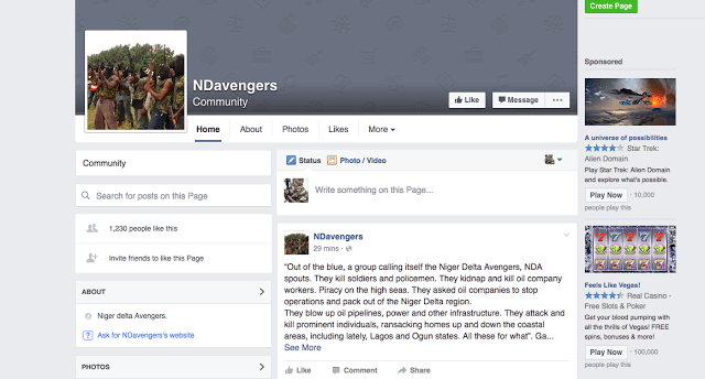 Screengrabs of imposter Avengers' Facebook accounts