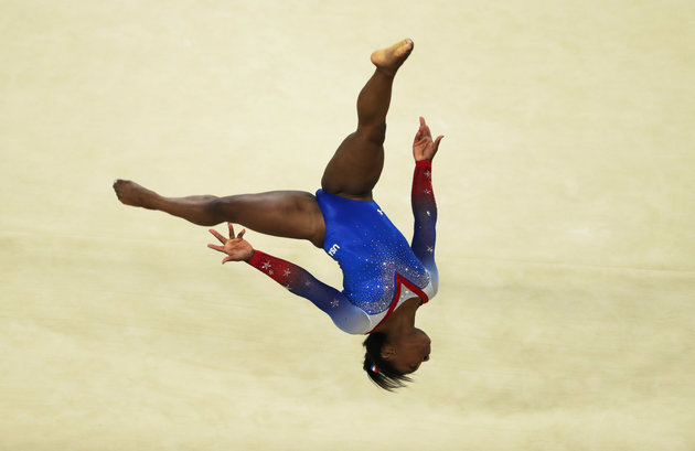 RIO DE JANEIRO, BRAZIL - AUGUST 16: Simone Biles of the United States competes during the Women's Floor Final at Rio Olympic Arena on August 16, 2016 in Rio de Janeiro, Brazil.   Ian MacNicol/Getty Images