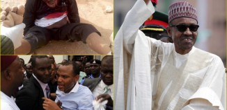 Clockwise from Top Left: Shiehk Ibrahim Zakzaky, Shi'ite Sect Leader in Zaria who was shot 6 times by Nigerian soldiers and detained without trial by the government for 200 days; President Muhammadu Buhari pictured as his inauguration on May 29, 2015; and Nnamdi Kanu, pro-Biafra activist detained by the secret police since October 2015 over 4 court orders for his bail has been disobeyed by the Buhari government Ibrahim El Zakzaky, El-Zakzaky, Zaria, Shi'ites, Shia