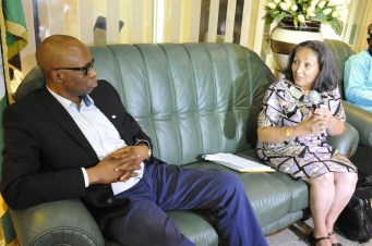 Governor Segun Mimiko with country representative of UNICEF, Jean Gough during a courtesy visit to the Ondo State Government House on Monday, August 8, 2016