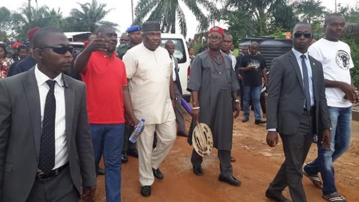 Governor Ifeanyi Ugwuanyi, his security and other members of his cabinet visit Attakwu, Akagbe-Ugwu on Thursday, August 25, 2016 after Fulani herdsmen killed a Catholic Seminarian