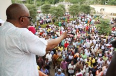 Ondo state Governor, Dr Olusegun Mimiko addressing local government workers in the state, during a 'Thank You' rally organized by the Nigerian Union of Local Government Employees (NULGE) to appreciate the Governor, in Akure, on Wednesday.