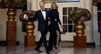 """""""Meet the Press"""" host Chuck Todd and Kristian Todd walk to the State Dinner at the White House.   Getty"""