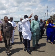 Former President Goodluck Jonathan and wife, Dame Patience Jonathan pictured with well-wishers as they arrive Port Harcourt International Airport on Sunday, October 2, 2016 | The Trent