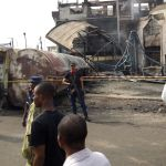 Scene of the fire in Onitsha that destroyed a filling station | Sabi News