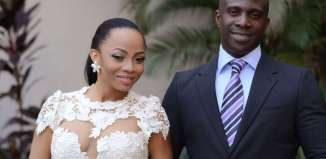 Toke Makinwa and Maje Ayida on their wedding day