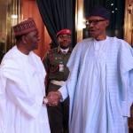 President Muhammadu Buhari receives Former Head of State Gen. Yakubu Gowon