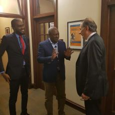 Ohimai Amaize, Mr. Fix Nigeria, (left) with President Obama's chief strategist David Axelrod (right) and former President of Ghana John Mahama at the Chicago Institute of Politics in April, 2017