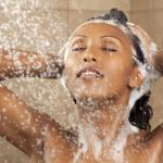 woman shower right dry skin