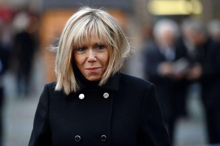 Brigitte Trogneux, wife of Emmanuel Macron, the president elect of France