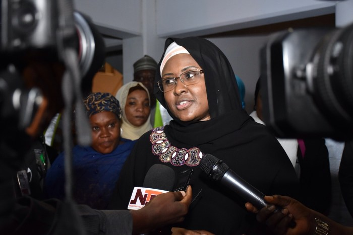 Aisha Buhari returns from London after visiting ailing husband on June 6, 2017 | NAN Photo