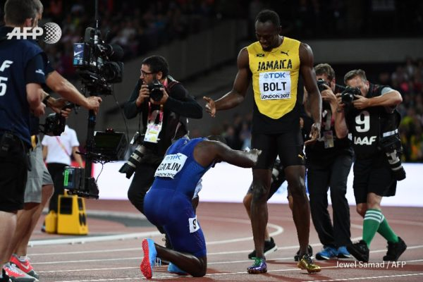 Respect: Gatlin on his knees for Bolt