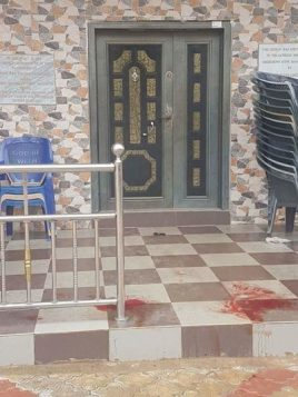 Blood trail at the door of the church where a gunman invaded a Catholic Church in Anambra State on Sun, Aug 6, 2017