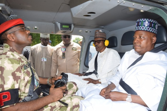 President Muhammadu Buhari visits the troops in the frontlines of the war against Boko Haram in Borno on October 1, 2017