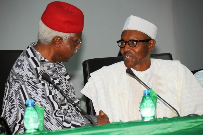 File photo of General Muhammadu Buhari and former Vice President Alex Ekwueme