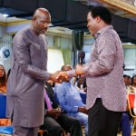 George Weah is received by Prophet TB Joshua at the Synagogue Church of All Nations