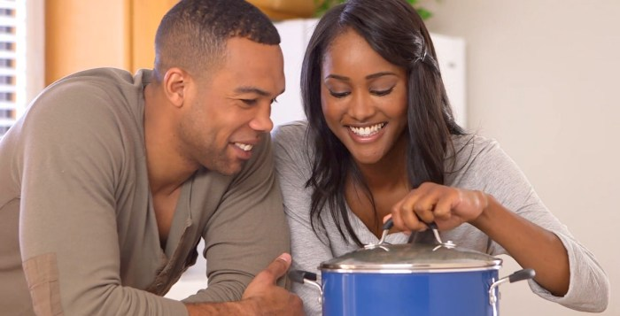 women couple love cooking kitchen