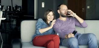woman women Young couple watching TV love