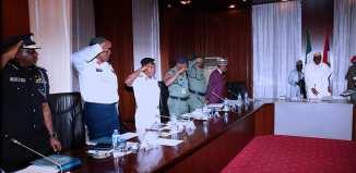 President Muhammadu Buhari receives security briefing on Jan 25, 2018 | State House Photo