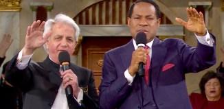 Pastor Chris Oyakhilome with Pastor Benny Hinn on LoveWorld TV | Screengrab from Loveworld TV