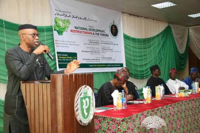 Olusegun Mimiko, Former Governor of Ondo State, speaking at the Yoruba Youth Summit in Ibadan on Thu, Feb 1, 2018