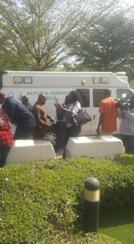 Olisa Metuh arrives the court on a stretcher on Monday, Feb 6, 2018 in Abuja