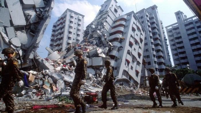 A scene from the Taiwan Earthquake Scene