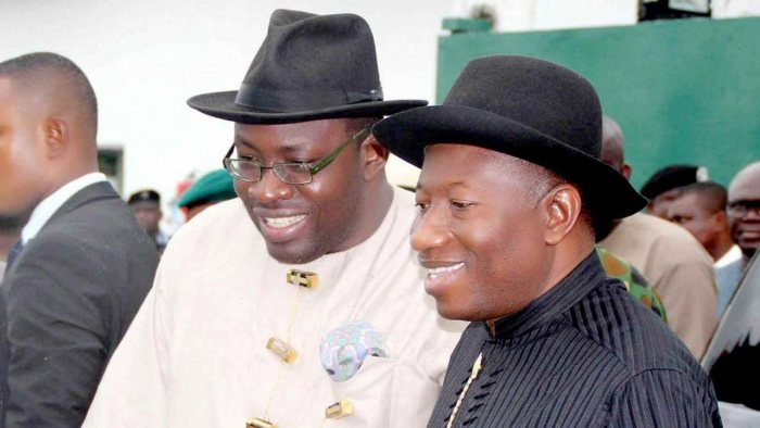 Former President of Nigeria, Goodluck Jonathan with Governor of Bayelsa State, Seriake Dickson