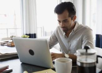 entrepreneurs office worker desk laptop burnout