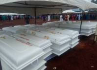 Ash Wednesday Christians Boko Haram Deadlier Caskets of the 2 Roman Catholic priests and 17 parishioners murdered by Fulani herdsmen in Benue on Tuesday, May 22, 2018 in Makurdi as they are given a mass burial| Twitter