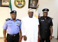 Edgar Imohimi, the Lagos State Commissioner (left) with Lagos State Governor, Ambode, Akinwunmi (middle)
