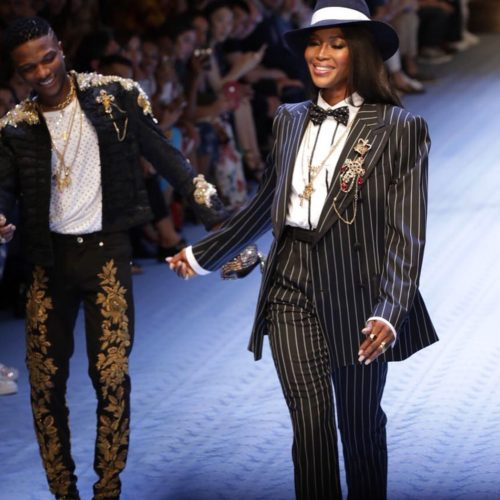 Wizkid with Naomi Campbell on the runway in Milan for Dolce &Gabbana
