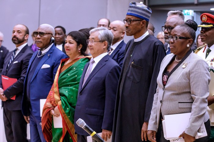 President Buhari in a group photo with official of the Criminal Court ahead of his Keynote address at the 20th Anniversary of the International Criminal Court (ICC) at the Hague, Netherlands on 17th July 2018