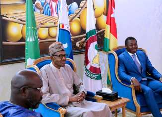 President Buhari with President of Togo Gnassingbe Fraure and President of Liberia George Weah as he arrives Togo ahead of ECOWAS-ECCAS Summit on 29th July 2018