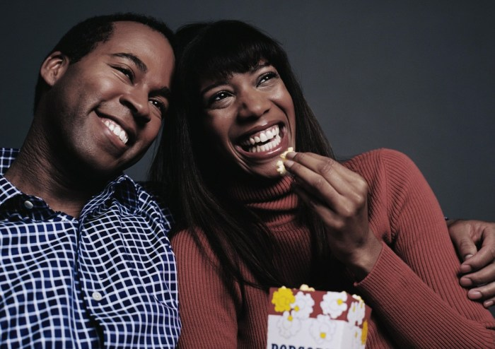 Couple laughing Popcorn Movies Smiling Happy The Trent