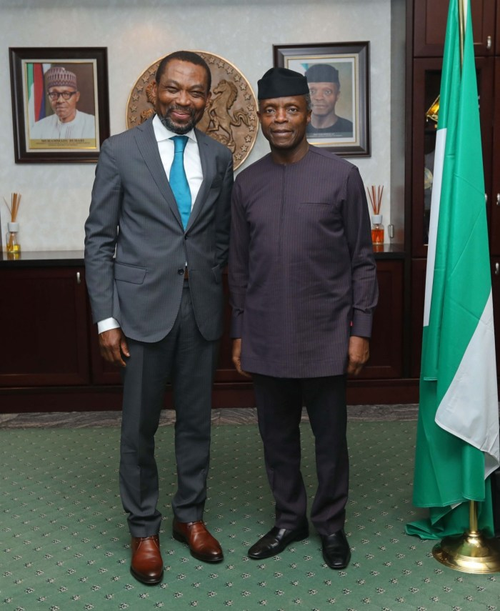 Judge Chile Eboe-Osuji, President International Criminal Court (ICC) on a courtesy visit to Vice President Yemi Osinbajo SAN in his office, State House Abuja on April 13, 2018. |Sesan Adeboyejo