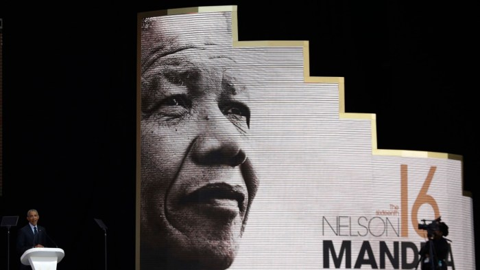 at the Wanderers Stadium in Johannesburg, South Africa, Tuesday, July 17, 2018 to deliver the 16th Annual Nelson Mandela Lecture.