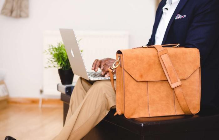 man suit laptop fashionable