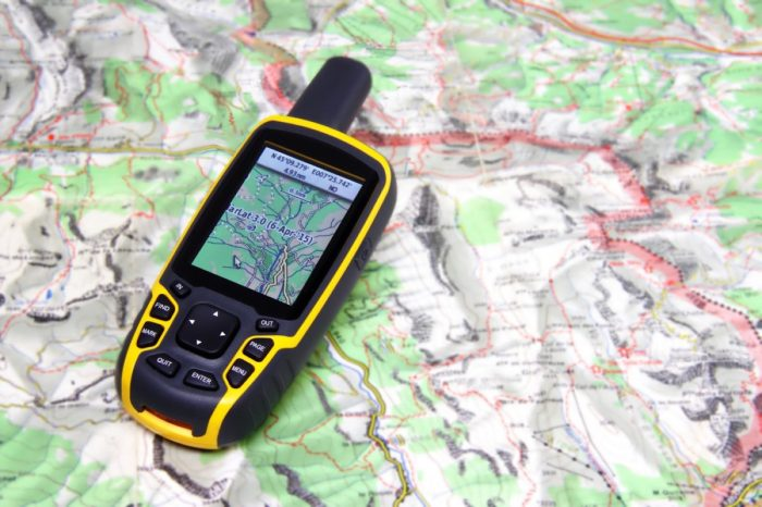 GPS receiver on background map