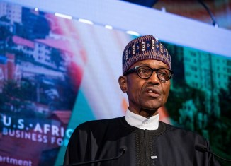 Muhammadu Buhari, president of the Federal Republic of Nigeria, speaks during the U.S. Africa Business Forum in New York, U.S., on Wednesday, Sept. 21, 2015. | Michael Nagle/Bloomberg